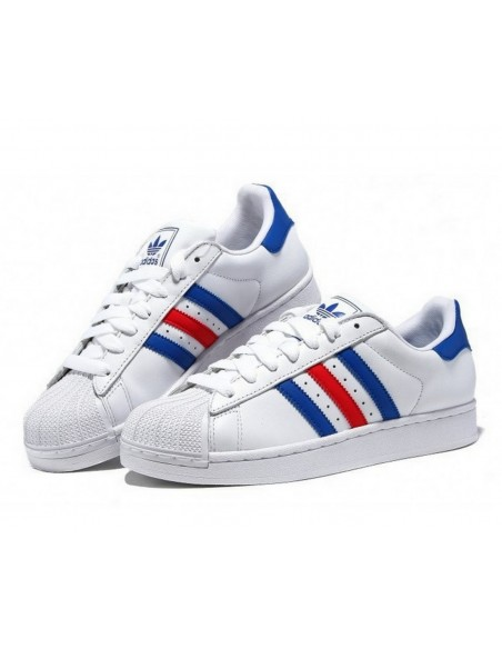 WHITE BLUE RED ADIDAS SUPERSTAR