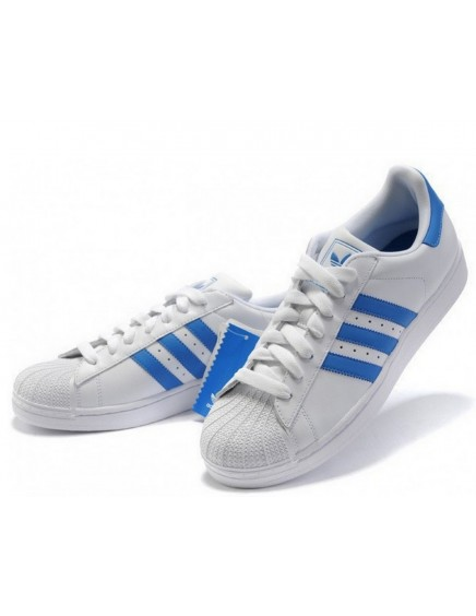 WHITE AND BLUEADIDAS SUPERSTAR