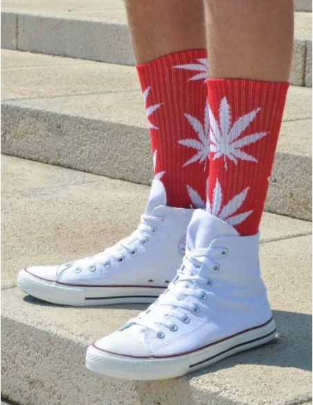 CALCETINES ALTOS ROJOS WEED