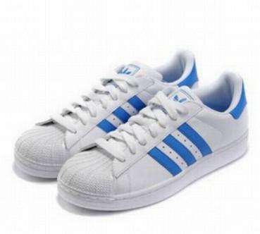 adidas superstar blancas con azul