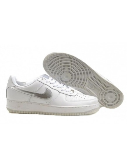 NIKE AIR FORCE ONE BLANCAS PLATEADAS BAJAS/LOW