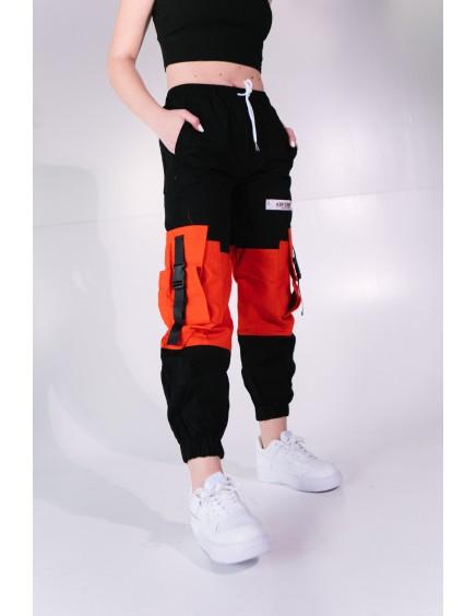 Pantalón Cargo Negro y Naranja